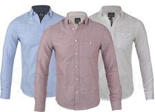 Mens Threadbare 100% Cotton Oxford Long Sleeved Shirt Plain Casual Summer S-XXL