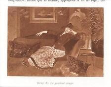 "ANTIQUE GORGEOUS VICTORIAN WOMAN SETTEE E DUEZ "" THE RED PORTRAIT "" SMALL PRINT"