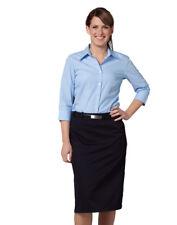 Benchmark Ladies' Pin Stripe 3/4 Sleeve Shirt Centre Split Cuff Regular Collar