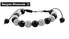 shamballa white CZ silver disco balls black bead macrame hip hop bracelet 10.5