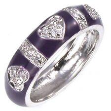 Sterling Silver Purple Enamel CZ Hearts Ring