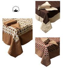 7 Piece - Pure Cotton 6 Seaters Oblong Table Cloth 150 x 230cm + 6 Napkins