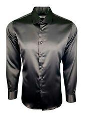 Hommes Satin Brillant Soyeux Smart Casual Robe de Mariage Chemise Décontractée 422 Noir