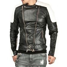 Men's Genuine Lambskin Leather Motorcycle Jacket Retro Slim fit Biker Jacket -FX