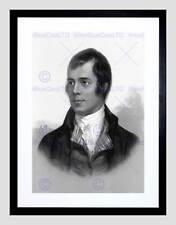 Retrato de Robert Burns Ayr Escocia Antiguo BW negro enmarcado Art Print B12X644