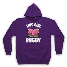 Cette fille aime rugby Slogan Sports amant Rétro Cool Adultes Enfants Sweat à capuche