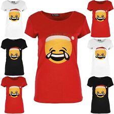 New Ladies Xmas Emoji LOL Smiley Face T Shirt Womens Xmas Cap Sleeve Novelty Tee