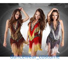 Ladies Leopard Ballroom Latin Tango Cha Cha Salsa Dance Dress Fringe Skirt 3Col.