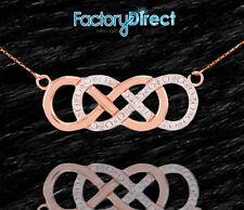 14k Rose Gold Double Infinity Necklace  Diamonds Unity Eternity Everlasting Love