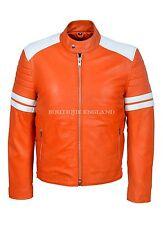 'MAYHEM' Men's ORANGE With WHITE Stripe Biker Style Fight Club Leather Jacket