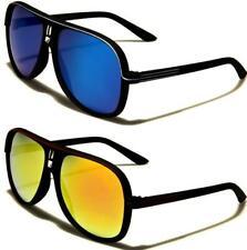 Nuevas gafas de sol negras estimados Para Hombre Para Mujer A Rayas Aviador Retro Con Espejo De Diseño