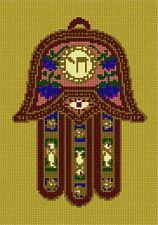 Hamsa Chai Needlepoint Kit or Canvas (Fish/Flower/Jewish/Judaica)