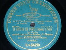 ZARZUELA 78 rpm RECORD PreDog DPG BENITEZ & GIMENEZ Duet EL ARTE DE SER BONITA