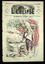 L'Eclipse André Gill CUISINE BOUILLON ET ECREVISSE Caricature de 1869
