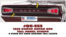 QG-553 1968 DODGE CORONET SUPER BEE - TAIL PANEL STRIPE - MATT BLACK