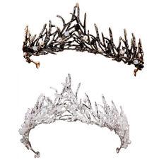 Bridal Leaf Black Crystal Pearls Tiara Crown Headband Wedding Pageant Prom Party