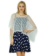 Bimba Women Short Dress Smocked Top With Net Poncho Chic Retro Style Clothing