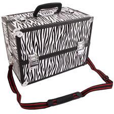 Aluminum Alloy Makeup Train Case Jewelry Box Organizer White Zebra Stripe-NEW