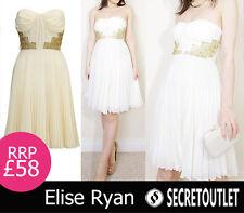Elise Ryan BNWT New Ladies Cream Chiffon Bandeau Pleated Party Dress 8 10 12 14