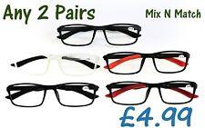 2 X Pares Retro Goma gafas de lectura 5 Colores variaciones + 8 Lentes MT125