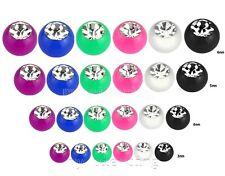 10 Stk einfarbig Acryl CZ Edelstein Kugel Ersatz Body Jewelry Teile 16g 14g