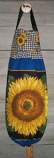 Large Yellow Sunflower Gingham VTG Plastic Grocery Bag Rag Sock Holder Organizer