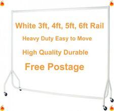 HEAVY DUTY Clothes Rails WHITE 3ft,4ft,5ft,6ft Garment Hanging Shop Displays🔥