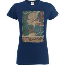DC Comics Womens Girls Navy Blue T Shirt Justice League Supergirl Bombshell