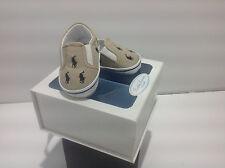 Ralph Lauren Layette Bal Harbour Crib Shoe khaki/navy Canvas NIB Size 1, 2, 4