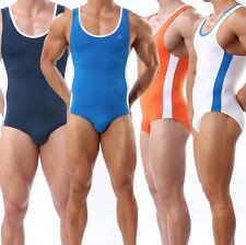 New Men's Sports Leotard Fitness Stretch Bodysuit Bodywear Swimwear Underwear