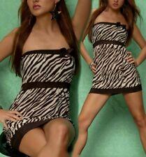 Sexy MISS DONNA Girly bandeau Mini Abito Longtop ZEBRA dress M 36 marroni beige