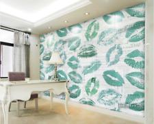Papel Pintado Mural De Vellón Impresión Labios Verde 2 Paisaje Fondo De Pantalla