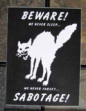 """4x3"""" Class War Sabotage Cat VINYL Sticker  Human Liberation Anarchy Bumper Decal"""