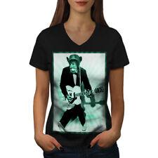Mokey Guitar Music Funny Women V-Neck T-shirt NEW | Wellcoda