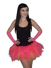 Neon Pink Tutu Diamante Legwarmer Glove i love 80s Fancy Dress Hen party Fun Run