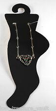 Vintage Heliotrope Ball Heart Silver Metal Ankle Bracelet Jewelry