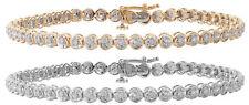 9 ct/Karat Weißgold/Gelb Gold Damen - Diamant Armband 0.50 Karat - 19cm