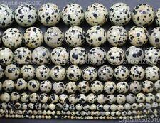 "Natural Dalmation Spot Jasper Gemstone Round Beads 4mm 6mm 8mm 10mm 12mm 15.5"""