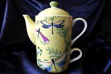 Luxurious Porcelain Tea for One Teapot & Mug Set...dragonfly...7 unique designs