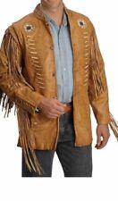 Western Cowhide Leather Wear Cowboy Fringe Style Handmade Bone Beads Coat Jacket