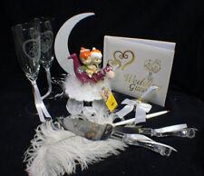 Pebbles Flintstones Bam Bam Wedding Cake Topper lot Glasses, knife, server, book