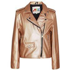Kids Jacket Girls Designer's PU Leather Jackets Zip Up Biker Coats 7-13 Year