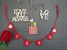 Vintage hanging decorations mini garland love always red cream wedding favour