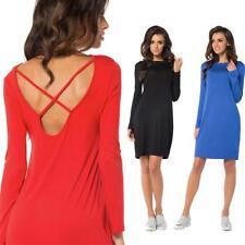 Kleid klassisch Mini-Kleid Rückenfreies Langarmkleid Top Größe 36 38 40 42 44 46