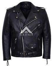 BRANDO FRINGE Black Men's Classic Motorcycle Biker Cowhide Real Leather Jacket