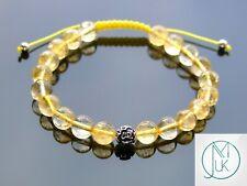 Citrine Om Sterling Silver Natural Gemstone Bracelet 6-9'' Macrame Healing Stone