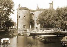 Tirage photo ancienne XIXe Ville de Bruges Brugge Porte Gentpoort