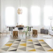 New Ochre Yellow Grey Rug Harlequin Triangles Pattern Living Room Geometric Rugs