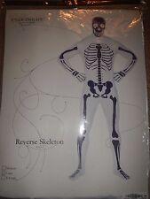 Mens Halloween Reverse skeleton bodysuit costume white black Large XL  morphsuit