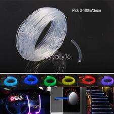 2mm 3mm Car Home 12v LED Light Lamp Decoration Side Glow Fiber Optic Cable DIY